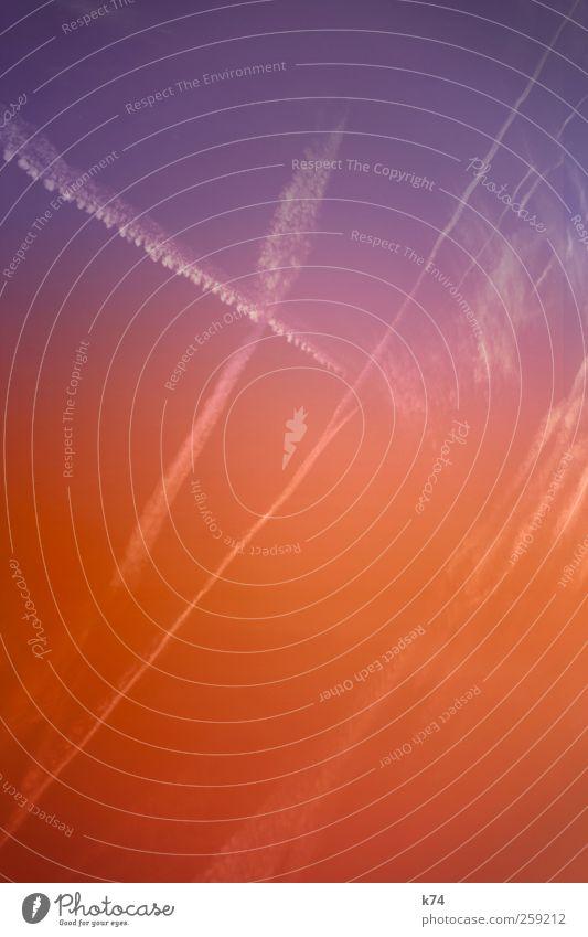 xky Himmel blau Ferien & Urlaub & Reisen rot Sommer Wolken Farbe hell Hintergrundbild fliegen frisch leuchten Spuren violett Schönes Wetter Wolkenloser Himmel