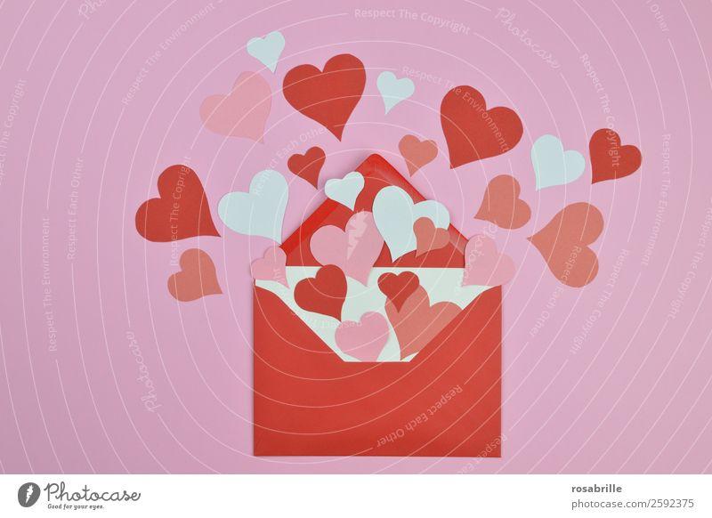 Liebesgrüße zum Valentinstag weiß rot Gefühle Glück Feste & Feiern rosa offen Fröhlichkeit Herz Romantik Papier Hochzeit Kitsch Sammlung Überraschung