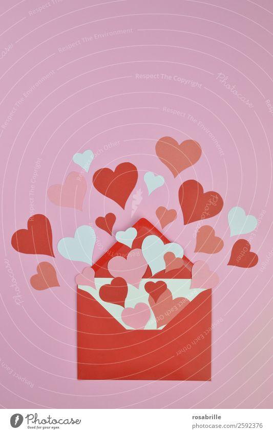 Liebesbrief zum Valentinstag weiß rot Gefühle Glück Feste & Feiern Paar rosa offen Fröhlichkeit Herz Zeichen Hochzeit Überraschung Partnerschaft Leidenschaft