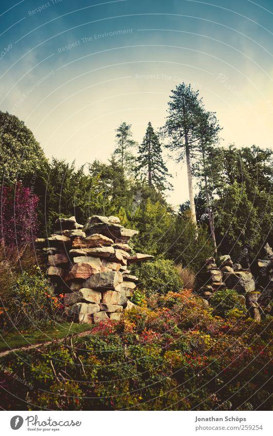 *** 200 *** Umwelt Natur Landschaft Himmel Wolkenloser Himmel Sommer Herbst Klima Pflanze Baum Sträucher Grünpflanze Park Wald Hügel Felsen blau mehrfarbig grün