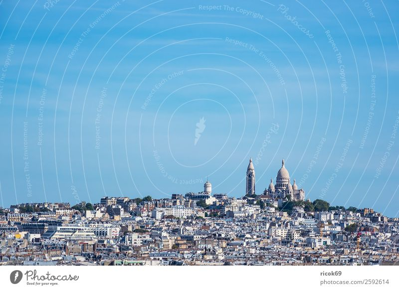 Blick auf die Basilika Sacre-Coeur in Paris, Frankreich Ferien & Urlaub & Reisen Tourismus Städtereise Haus Wolken Herbst Stadt Hauptstadt Gebäude Architektur