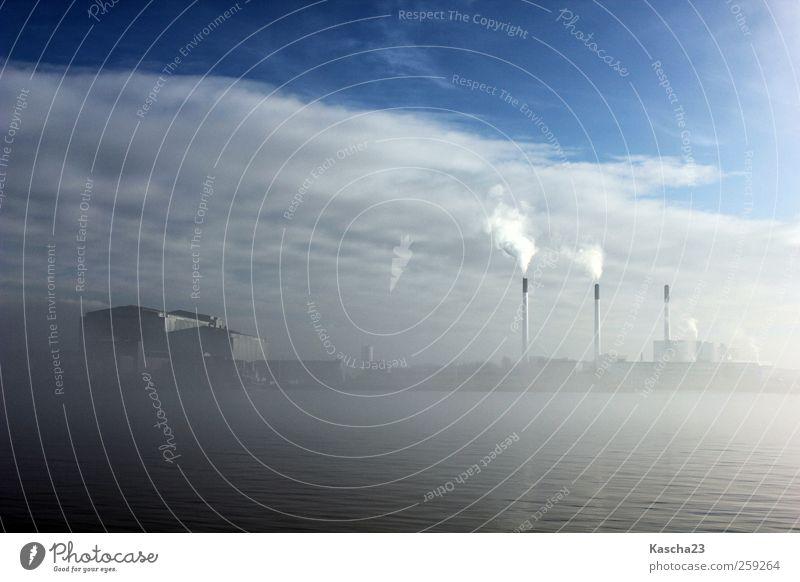 Nebel in Kopenhagen Hauptstadt Stadtrand Industrieanlage Hafen Architektur Schornstein Schifffahrt Kraft Güterverkehr & Logistik Außenaufnahme Menschenleer