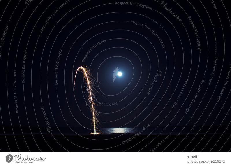 Mitternachtsformel Himmel Nachthimmel Horizont Mond Vollmond Nordlicht außergewöhnlich Feuerwerk Mondschein Lichterscheinung Meer Meerwasser