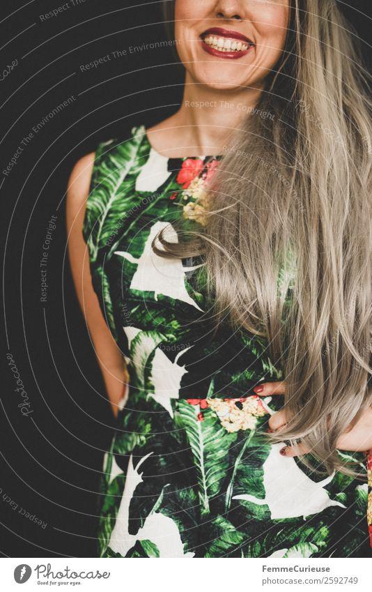 Smiling woman with long grey dyed hair Lifestyle elegant Stil feminin Junge Frau Jugendliche Erwachsene 1 Mensch 18-30 Jahre 30-45 Jahre Kleid Sommerkleid
