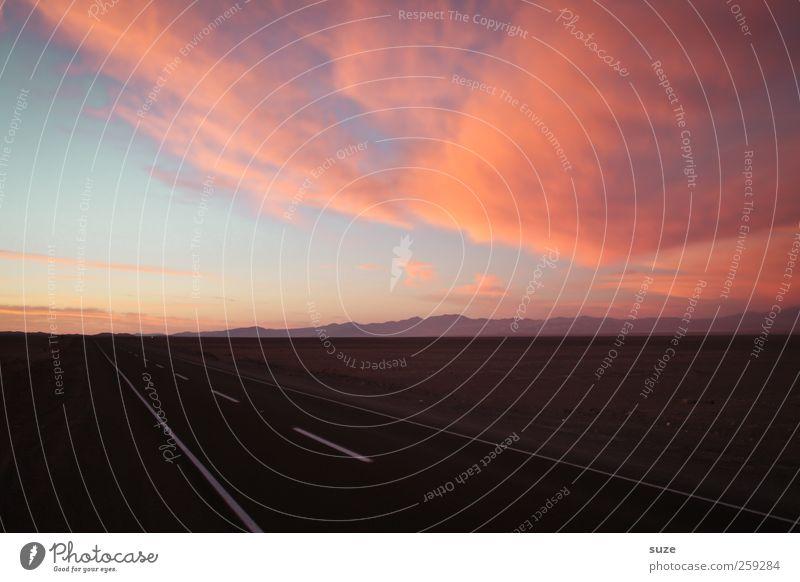 Abendrot Ferien & Urlaub & Reisen Umwelt Natur Landschaft Himmel Wolken Sommer Klima Schönes Wetter Verkehr Verkehrswege Straßenverkehr Autofahren Wege & Pfade