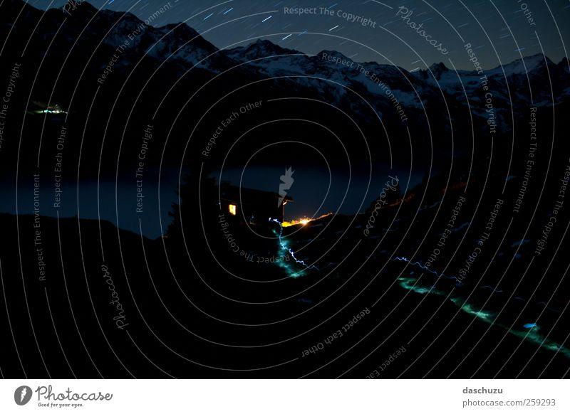 Sattelkopf Hütte bei Nacht wandern Natur Landschaft Nachthimmel Stern Alpen Berge u. Gebirge St. Anton Arlberg Österreich Europa laufen Farbfoto Außenaufnahme