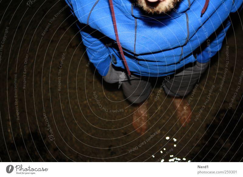 Follow Rivers Mensch blau Wasser Strand Sand Küste Mode Wellen Schwimmen & Baden wandern maskulin Behaarung Urelemente Reinigen Bart Unwetter