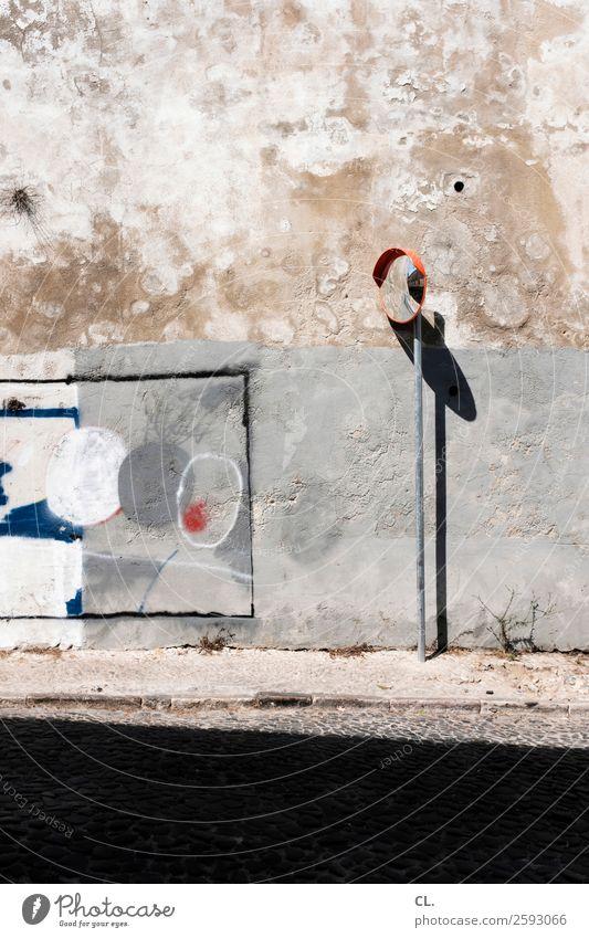 verkehrsspiegel Schönes Wetter Lissabon Portugal Mauer Wand Verkehr Verkehrswege Straßenverkehr Wege & Pfade Verkehrszeichen Verkehrsschild Spiegel Zeichen