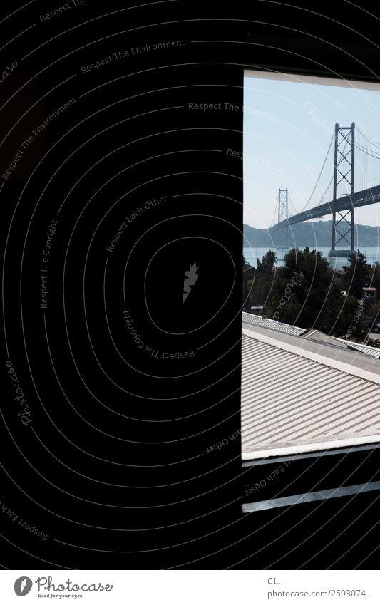 ponte 25 de abril Ferien & Urlaub & Reisen Tourismus Städtereise Sommerurlaub Wolkenloser Himmel Schönes Wetter Fluss Lissabon Portugal Stadt Menschenleer