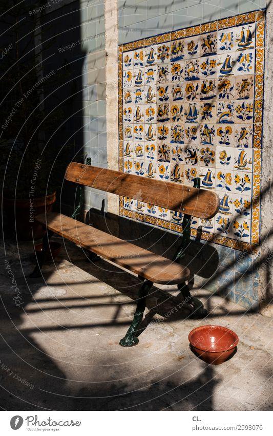 mouraria Ferien & Urlaub & Reisen Sommer Stadt Erholung Haus Architektur Wand Kunst Mauer Dekoration & Verzierung Kultur ästhetisch Schönes Wetter Pause Bank