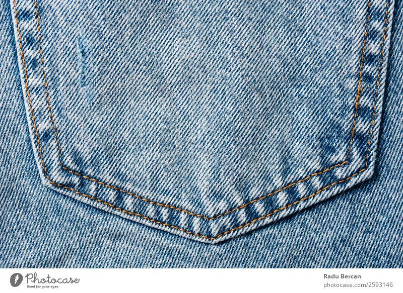 Jeans Tasche Nahaufnahme mit Denim Textur Details Jeanshose Hintergrundbild blau Jeansstoff Konsistenz Design Stoff Mode Muster Bekleidung Material Textil