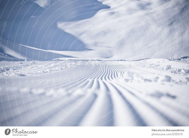 wie butter.... Winter Schnee Winterurlaub Skipiste Eis Frost Hügel Alpen Berge u. Gebirge Gletscher kalt blau rein Innsbruck Pistenzauber Schneefahrzeug Furche