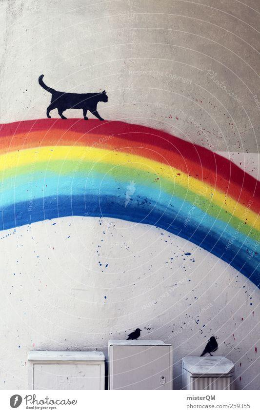 Simon was here. Katze Wand Spielen Graffiti Mauer träumen Kunst Horizont Vogel Fassade ästhetisch Dekoration & Verzierung Kreativität fantastisch Idee