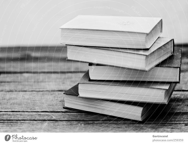 Stapelweise Bildung Wissenschaften Schule lernen Studium Buch Schwarzweißfoto Innenaufnahme Textfreiraum links Schatten Kontrast