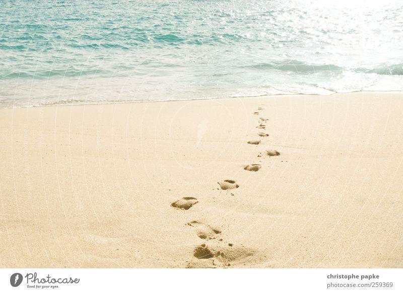 Wo kommen wir her? Wo gehen wir hin? Sommer Sommerurlaub Sonne Meer Wellen Küste Strand Portugal Menschenleer Fußspur Glück Bewegung Ferien & Urlaub & Reisen