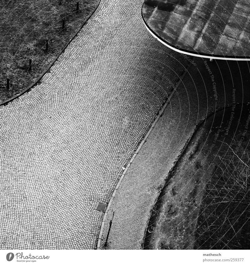 licht und schattenseiten Menschenleer Platz Architektur Dach Straße kalt schwarz weiß Bordsteinkante Verkehrsschild Baum Sportrasen Gully Kopfsteinpflaster