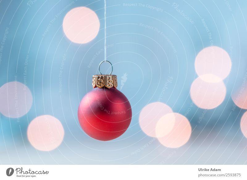 Hängende rote Weihnachtskugel Stil Design Postkarte Feste & Feiern Weihnachten & Advent Dekoration & Verzierung Kugel Christbaumkugel Lichterkette Glas hängen