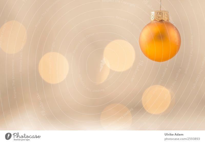 Goldene hängende Weihnachtskugel Stil Design Weihnachtskarte Postkarte Feste & Feiern Weihnachten & Advent Glas Kugel Christbaumkugel Lichterkette glänzend