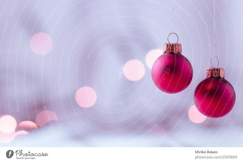 Zwei hängende Weihnachtskugeln Postkarte Weihnachten & Advent Dekoration & Verzierung Lichterkette Christbaumkugel Glas Gold Kugel glänzend leuchten schön