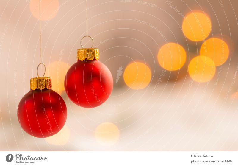 Zwei rote Weihnachtskugeln Design harmonisch Wohlgefühl ruhig Dekoration & Verzierung Postkarte Feste & Feiern Weihnachten & Advent Christbaumkugel Glas Gold