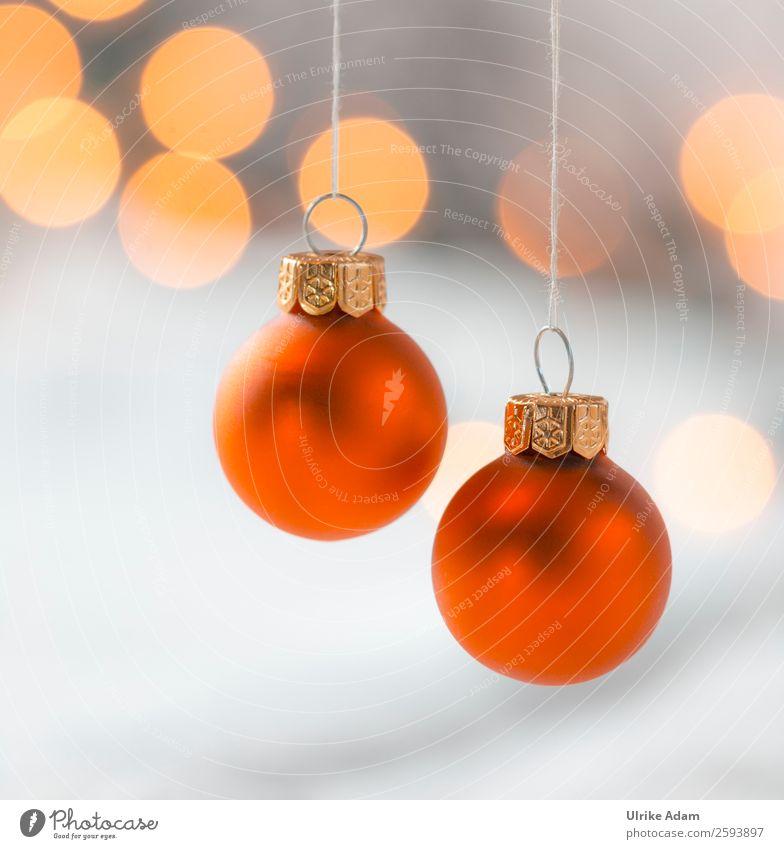 Hängende Weihnachtskugeln Stil Design Postkarte Feste & Feiern Weihnachten & Advent Lichterkette Glas Gold Kugel glänzend hängen leuchten Kitsch Wärme grau