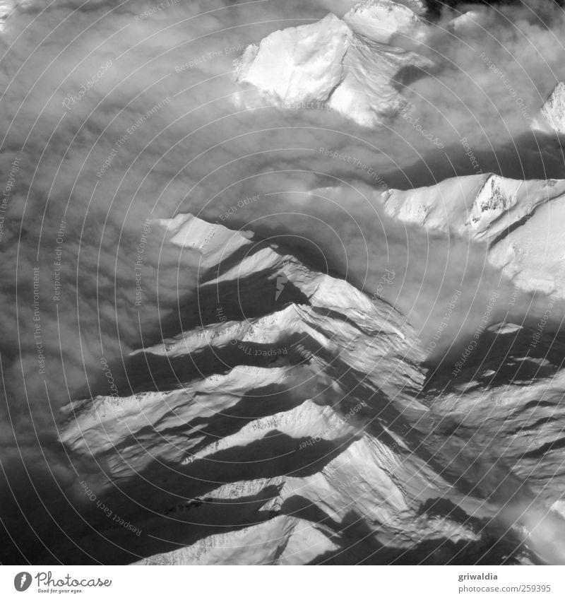 die alpen Natur Landschaft Erde Winter Nebel Schnee Hügel Alpen Berge u. Gebirge Gipfel Schneebedeckte Gipfel frei Unendlichkeit hell hoch kalt natürlich