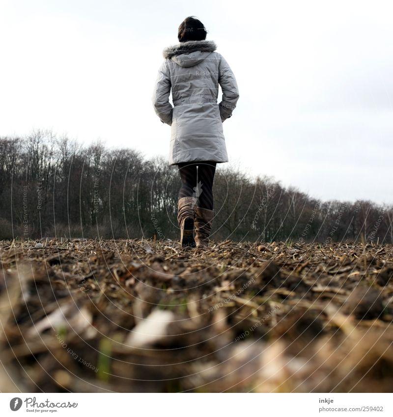 querfeldein Freizeit & Hobby Ferne Freiheit Frau Erwachsene Leben Körper 1 Mensch Landschaft Pflanze Erde Herbst Winter Wald Mantel Wintermantel Fellkragen