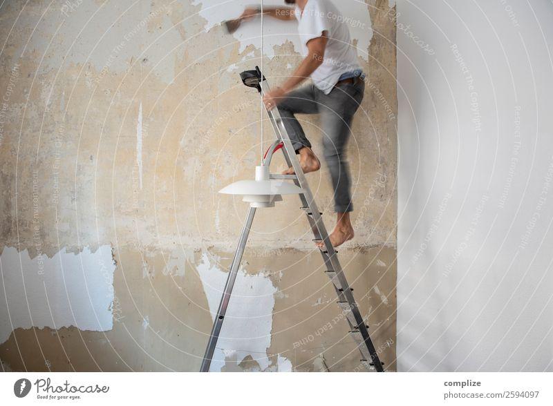 do-it-yourself | Tapete Abspachteln Arbeitsplatz Baustelle Handwerk Haus Mauer Wand Arbeit & Erwerbstätigkeit geduldig abspachteln Werkzeug heimwerken machen