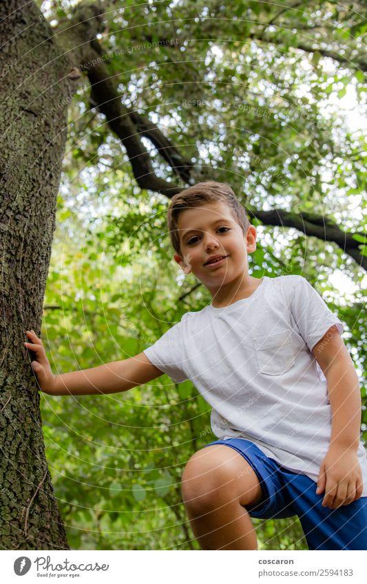 Süßes Kind im Wald, das allein spielt. Lifestyle Freude Glück schön Gesicht Freizeit & Hobby Spielen Sommer Garten Sport Mensch Kleinkind Junge Kindheit 1