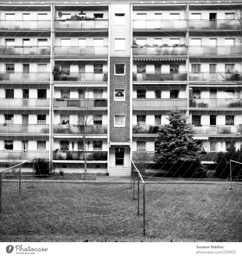 gor.bitz überbevölkert Haus Hochhaus Fassade Balkon Garten Fenster Tür Häusliches Leben Plattenbau Wäscheleine Wäscheplatz DDR konventionell Schwarzweißfoto