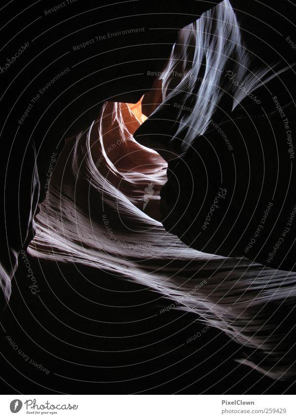 Licht am Ende des Tunnels Natur gelb Landschaft braun Felsen Schönes Wetter Amerika Schlucht Nationalpark Indianer Nordamerika Antelope Canyon