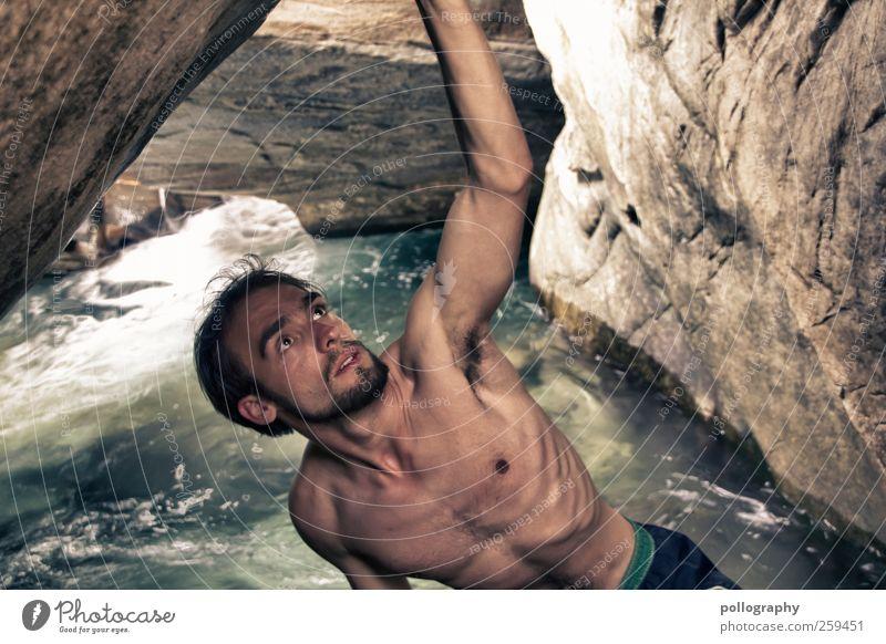 i want to reach the sky... (II) Mensch Mann Natur Jugendliche Wasser Sommer Erwachsene Leben nackt Küste Kraft Felsen Arme maskulin Beginn Abenteuer