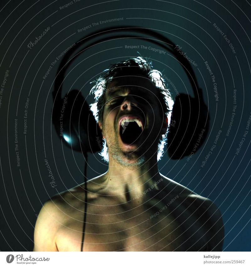 shout, shout, let it all out Mensch Mann Gesicht Erwachsene Kopf Musik Kunst maskulin wild Ohr Tierhaut hören schreien Rockmusik Radio Kopfhörer