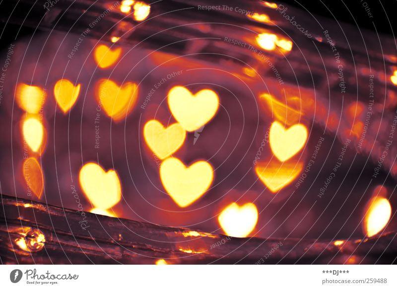 Herz an Herz (Bokeh) rot Freude schwarz gelb Liebe Gefühle Glück Stimmung braun Kraft gold Zufriedenheit leuchten Sicherheit retro