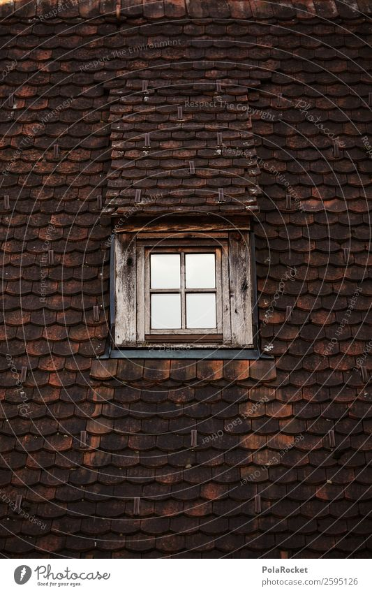 #A# Dachgeschoss Hütte ästhetisch Architektur Dachgiebel Dachfenster Fenster Muster Ziegeldach Backstein ziegelrot altmodisch Farbfoto Gedeckte Farben