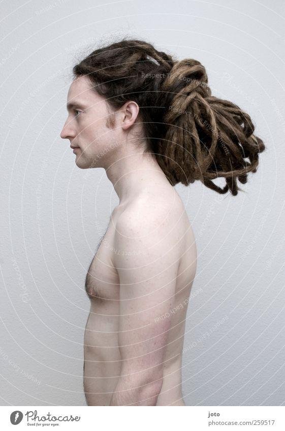 erstarrt Jugendliche ruhig Erwachsene nackt Haare & Frisuren stehen 18-30 Jahre einzigartig dünn Junger Mann brünett trendy langhaarig Identität bewegungslos Akt