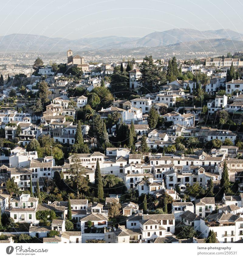 Albaicín [VII] Ferien & Urlaub & Reisen Städtereise Zypresse Hügel Granada Albaicin Andalusien Spanien Stadtzentrum Altstadt Haus Kirche Fassade