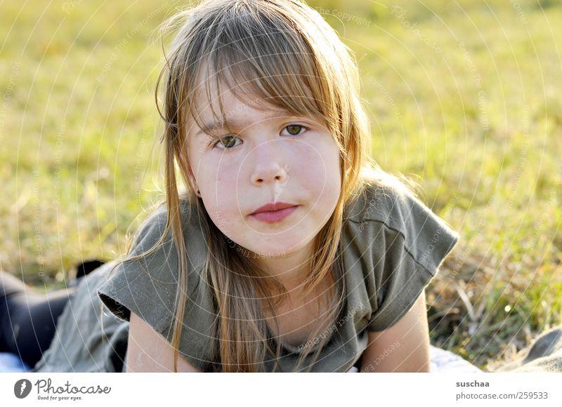 sommerkind II Kind Mädchen Kindheit Kopf Haare & Frisuren Gesicht Auge Nase Mund Lippen 3-8 Jahre Natur Sonnenlicht Sommer Schönes Wetter Gras Wiese Blick
