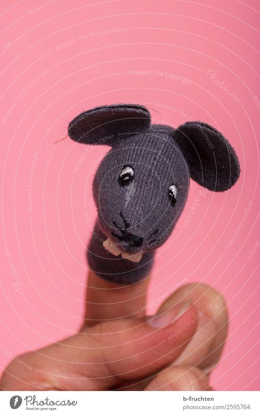 Hier kommt die Maus Geburtstag Kindererziehung Kindergarten Hand Finger Puppentheater Spielzeug Bewegung festhalten Lächeln lachen Spielen rosa Fingerpuppe