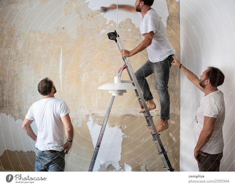 Teamwork Häusliches Leben Wohnung Hausbau Renovieren Umzug (Wohnungswechsel) einrichten Innenarchitektur Dekoration & Verzierung Mensch maskulin 1 3 Bart bauen