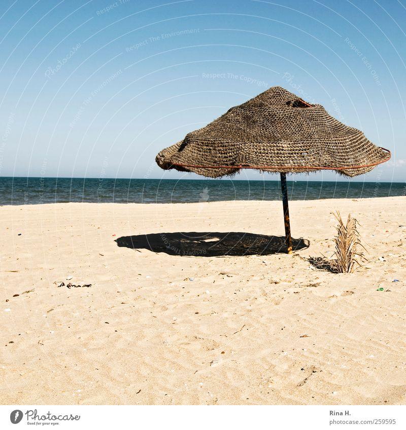 Saisonende Natur blau Ferien & Urlaub & Reisen Sonne Sommer Strand ruhig gelb Herbst Umwelt Wärme hell Horizont Tourismus authentisch kaputt