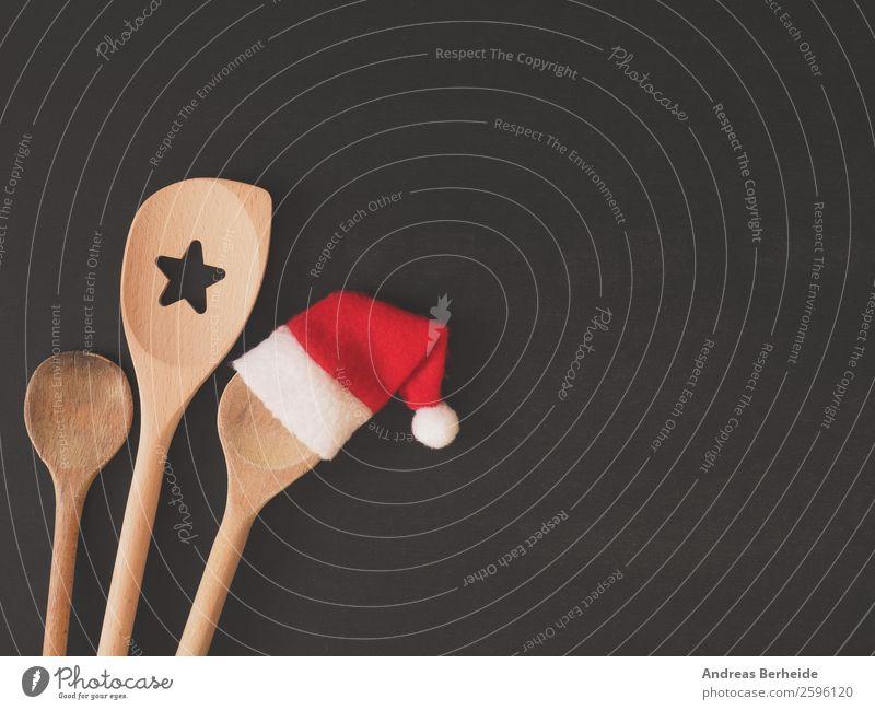 Drei Kochlöffel, einer mit Mütze Festessen Löffel Stil Gesunde Ernährung Winter Restaurant Weihnachten & Advent Tafel Hut Kitsch lustig rot Hintergrundbild
