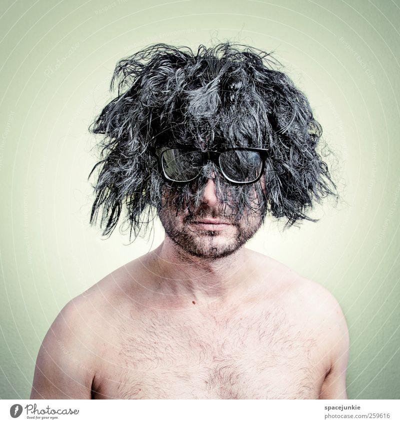 Wild Mensch Mann schwarz Erwachsene Haare & Frisuren maskulin Behaarung verrückt Bart skurril langhaarig Humor schwarzhaarig Vollbart 30-45 Jahre Perücke