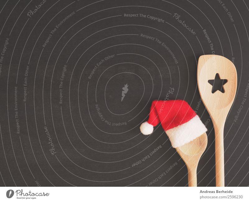 Kochen zu Weihnachten Festessen Löffel Design Winter Restaurant Weihnachten & Advent Tafel Hut Mütze Kochlöffel Kitsch lustig Hintergrundbild blackboard