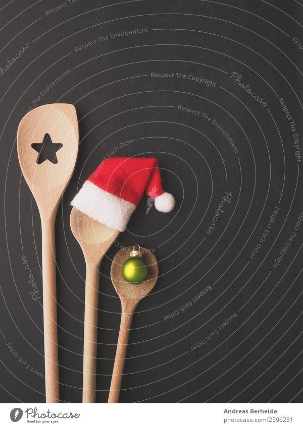 Drei Kochlöffel mit Weihnachtsdekoration Weihnachten & Advent Speise Freude Winter Hintergrundbild Stil Dinge Hut Restaurant Mütze altehrwürdig Tafel