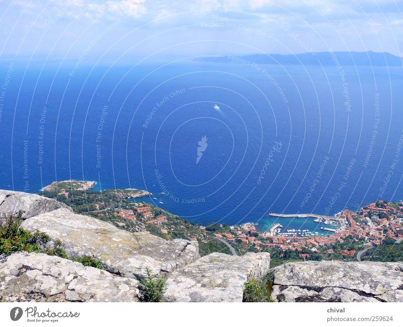 Giglio Himmel Natur Wasser Ferien & Urlaub & Reisen Pflanze Sonne Meer Wolken Haus Ferne Landschaft Küste Felsen wandern Insel Ausflug