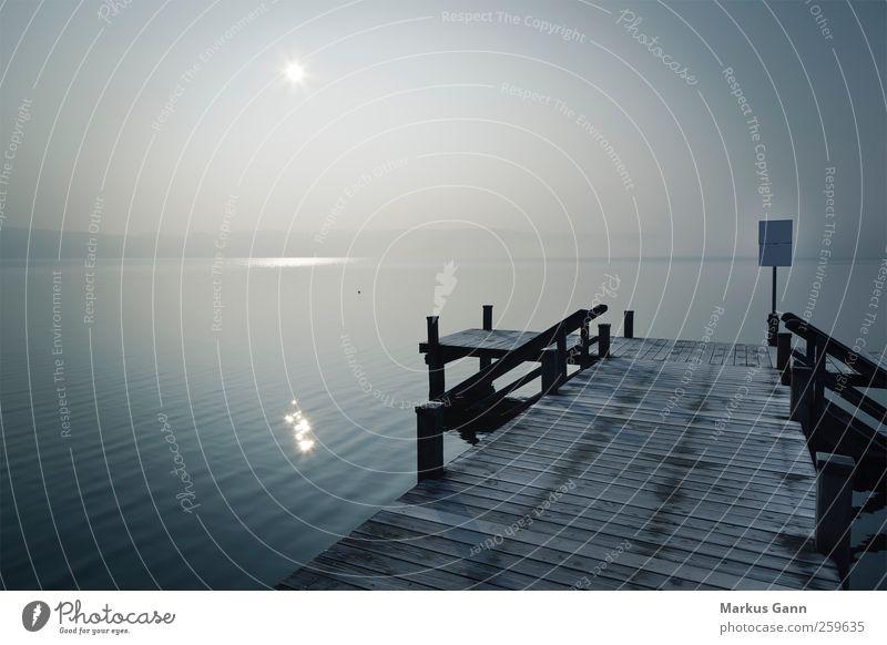 Frostiger Steg ruhig Ferne Winter Natur Wetter Nebel Seeufer grau Anlegestelle unklar trüb Holz Sonne Gedeckte Farben Außenaufnahme Menschenleer