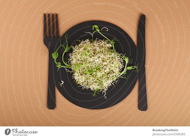 Nahaufnahme von frischer Mungbohne und grünem Erbsen-Mikrogrün-Salat Lebensmittel Gemüse Salatbeilage Ernährung Bioprodukte Vegetarische Ernährung Diät Geschirr