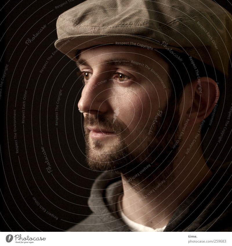 Der in die Zukunft schaut Mensch Mann Erwachsene Gesicht Auge Kopf braun Zufriedenheit Mund Nase maskulin ästhetisch authentisch Hoffnung Vertrauen historisch