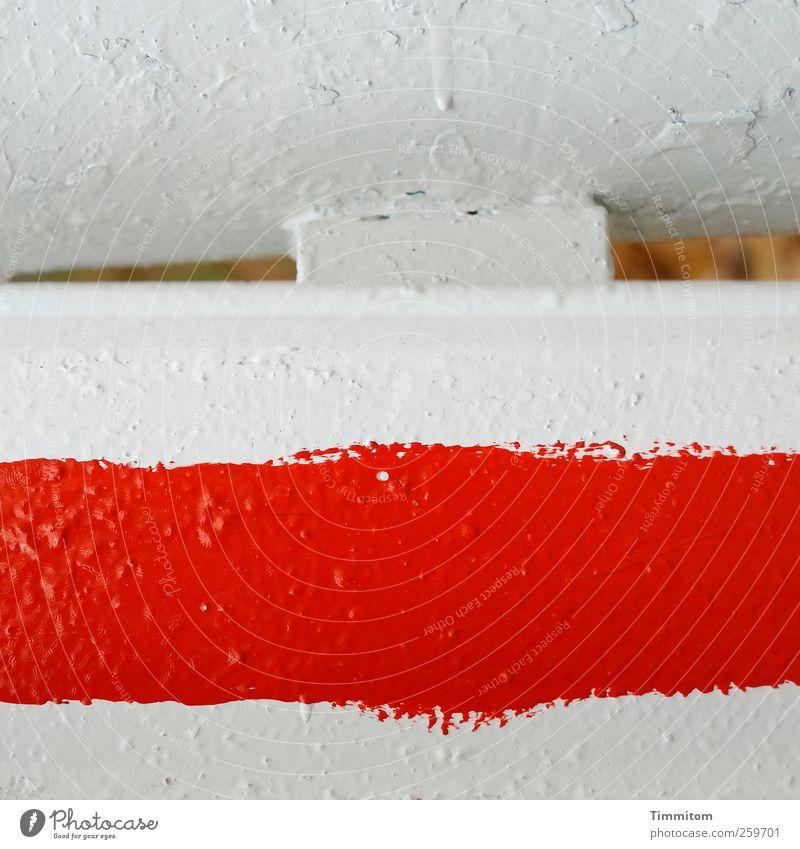 Aufpassen! (rot auf weiß) kalt Metall Schilder & Markierungen ästhetisch deutlich Aggression Warnung Schranke evident
